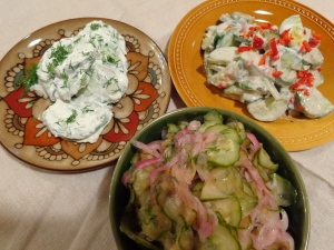 sour cream & horseradish, yogurt & chili, vinegar salads