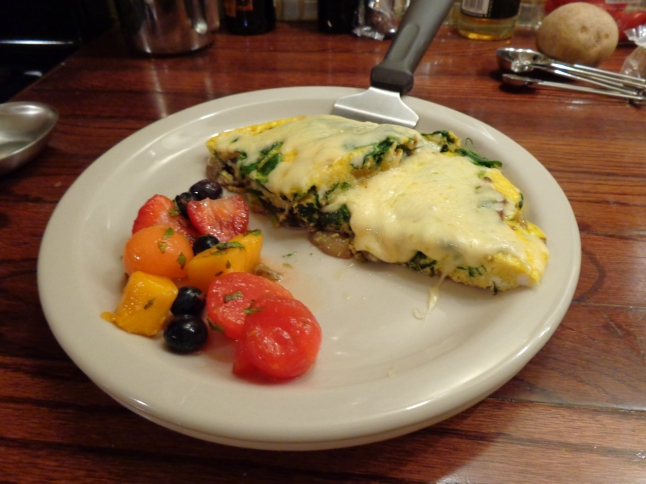 Frittata with fruit salad