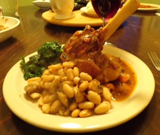 Broasted lamb shanks with white beans and kale